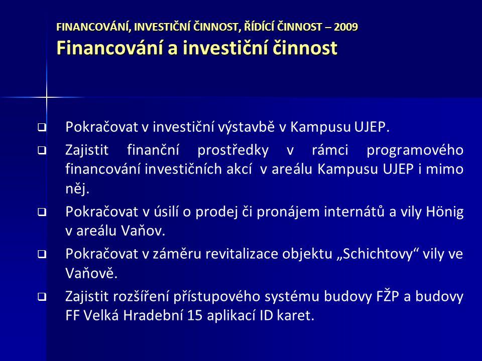 FINANCOVÁNÍ, INVESTIČNÍ ČINNOST, ŘÍDÍCÍ ČINNOST – 2009 Financování a investiční činnost   Pokračovat v investiční výstavbě v Kampusu UJEP.