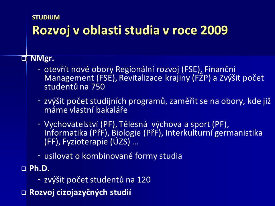 STUDIUM Rozvoj v oblasti studia v roce 2009   NMgr.