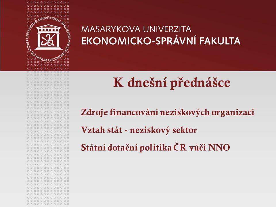 www.econ.muni.cz Podpora a ovlivn ě ní neziskových organizací státem v Č R - legislativní -stát je tv ů rcem zákon ů, které umo žň ují existenci NO.