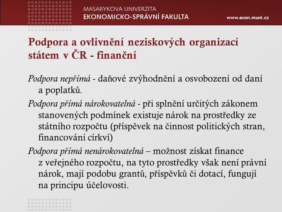 www.econ.muni.cz Podpora a ovlivn ě ní neziskových organizací státem v Č R - finan č ní Podpora nep ř ímá - da ň ové zvýhodn ě ní a osvobození od daní a poplatk ů.