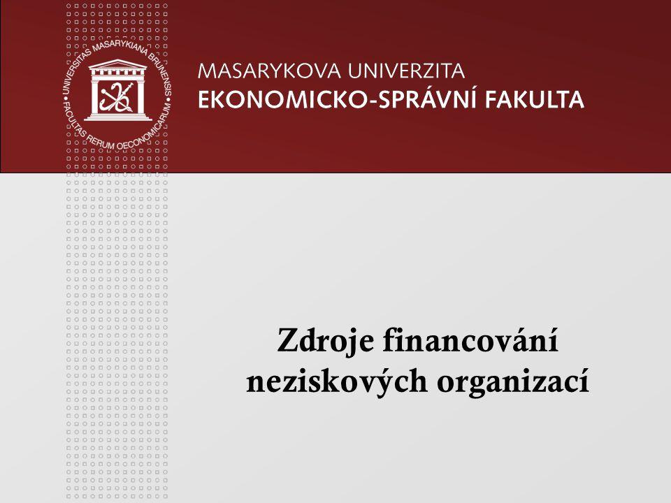 www.econ.muni.cz Zdroje financování NO z vlastní č innosti hospodá ř ská č innost (p ř íjmy z reklamy, z pronájmu, tr ž by z prodeje statk ů a slu ž eb).