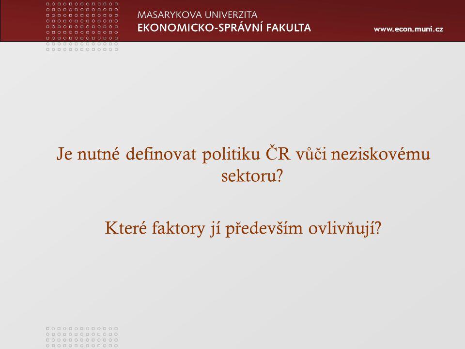 www.econ.muni.cz Je nutné definovat politiku Č R v ůč i neziskovému sektoru.