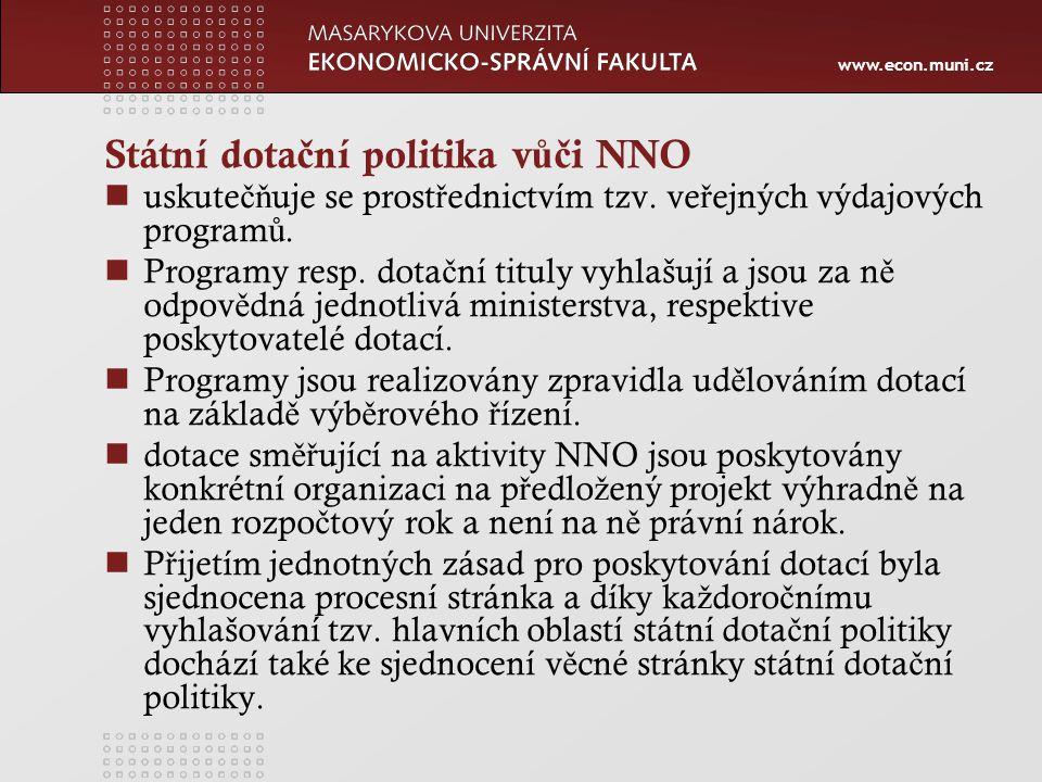 www.econ.muni.cz Státní dota č ní politika v ůč i NNO uskute čň uje se prost ř ednictvím tzv.