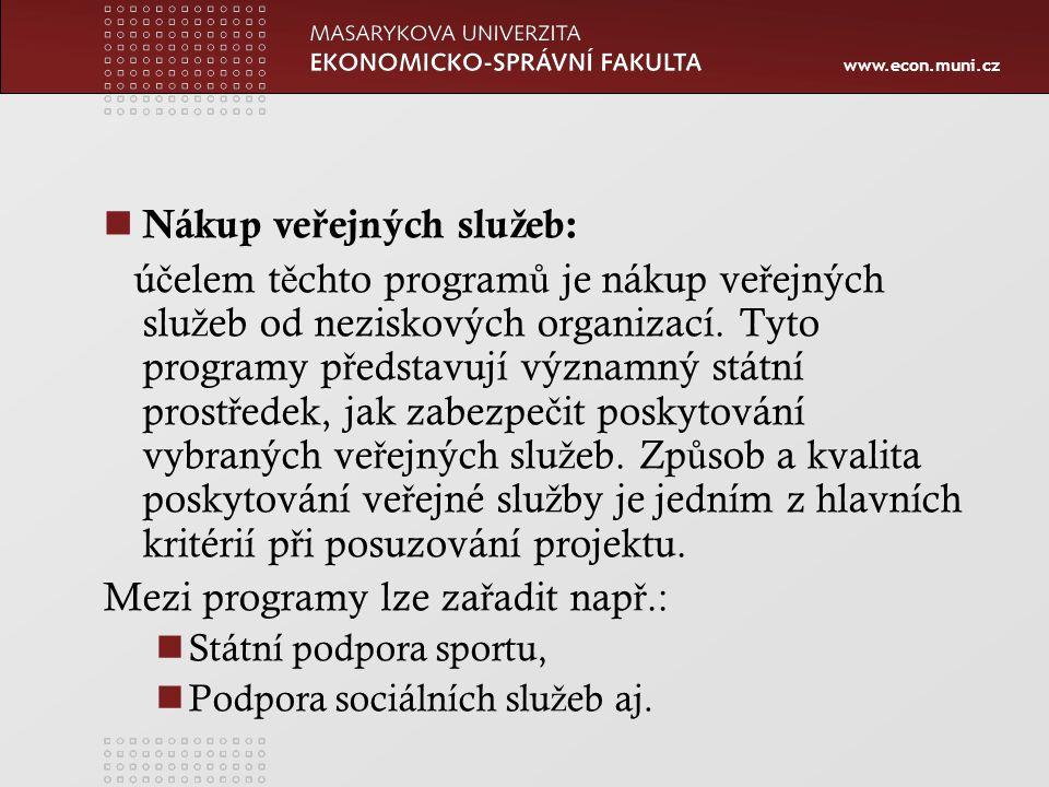 www.econ.muni.cz Nákup ve ř ejných slu ž eb: ú č elem t ě chto program ů je nákup ve ř ejných slu ž eb od neziskových organizací.