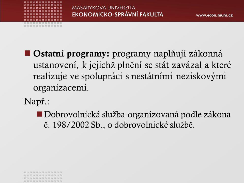 www.econ.muni.cz Ostatní programy: programy napl ň ují zákonná ustanovení, k jejich ž pln ě ní se stát zavázal a které realizuje ve spolupráci s nestátními neziskovými organizacemi.