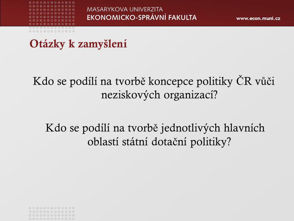 www.econ.muni.cz Otázky k zamyšlení Kdo se podílí na tvorb ě koncepce politiky Č R v ůč i neziskových organizací.
