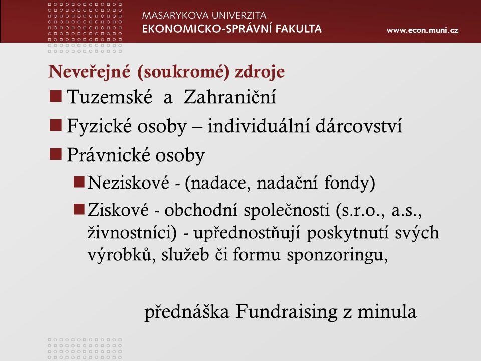 www.econ.muni.cz Ve ř ejné zdroje rozpo č ty institucí ve ř ejné správy, tj.