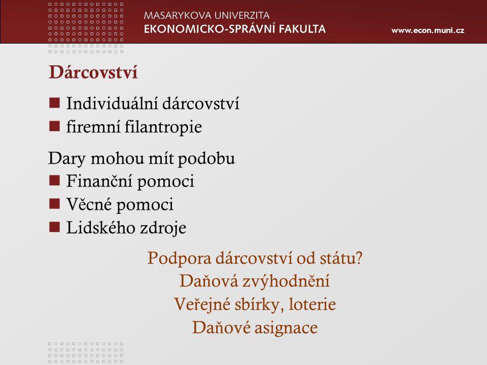 www.econ.muni.cz Dárcovství Individuální dárcovství firemní filantropie Dary mohou mít podobu Finan č ní pomoci V ě cné pomoci Lidského zdroje Podpora dárcovství od státu.