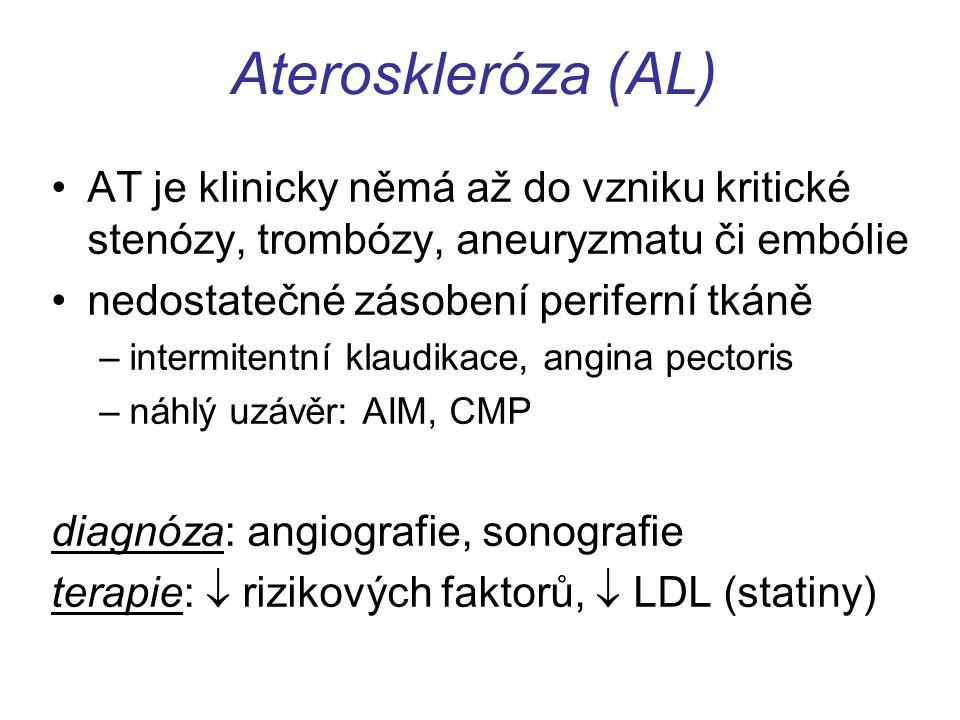 Ateroskleróza (AL) AT je klinicky němá až do vzniku kritické stenózy, trombózy, aneuryzmatu či embólie nedostatečné zásobení periferní tkáně –intermit