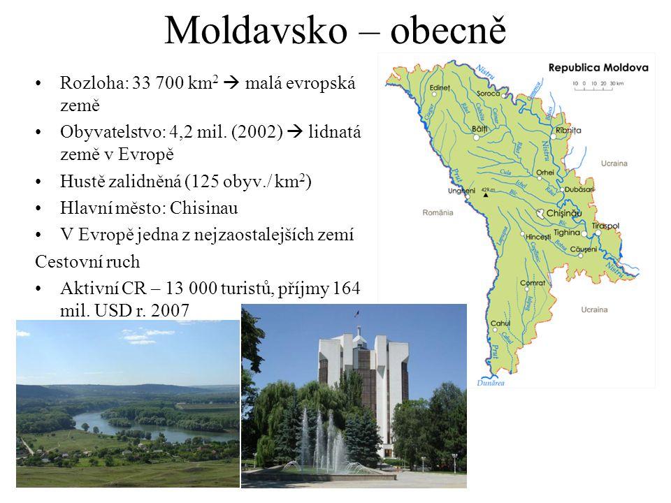 Moldavsko – obecně Rozloha: 33 700 km 2  malá evropská země Obyvatelstvo: 4,2 mil.