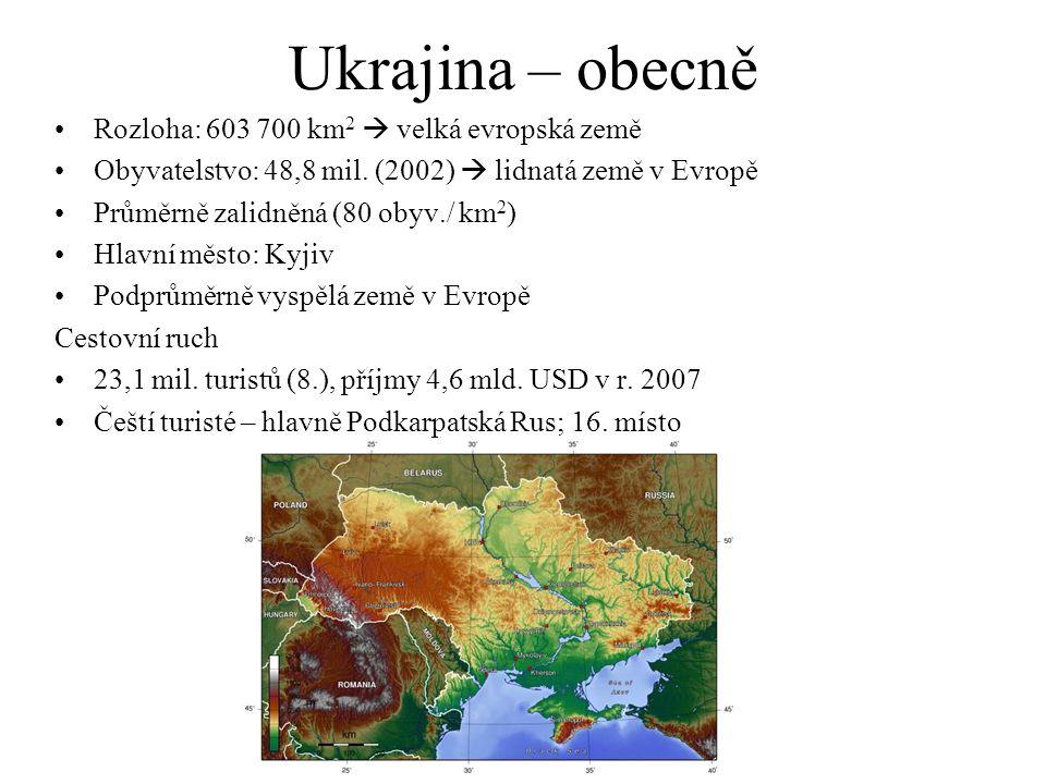 Ukrajina – obecně Rozloha: 603 700 km 2  velká evropská země Obyvatelstvo: 48,8 mil.