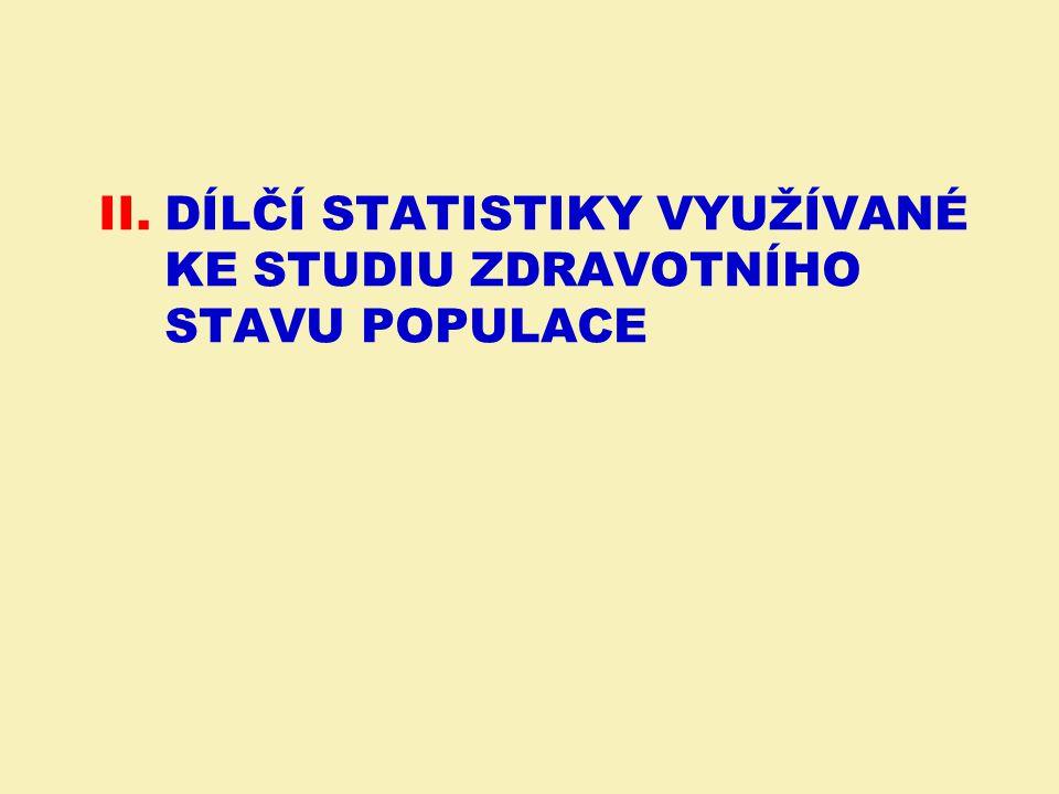II.DÍLČÍ STATISTIKY VYUŽÍVANÉ KE STUDIU ZDRAVOTNÍHO STAVU POPULACE