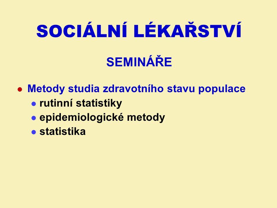 TÉMATA JEDNOTLIVÝCH SEMINÁŘŮ I.RS15. 9. – 19. 9.: Rutinní zdravotnická statistika 22.