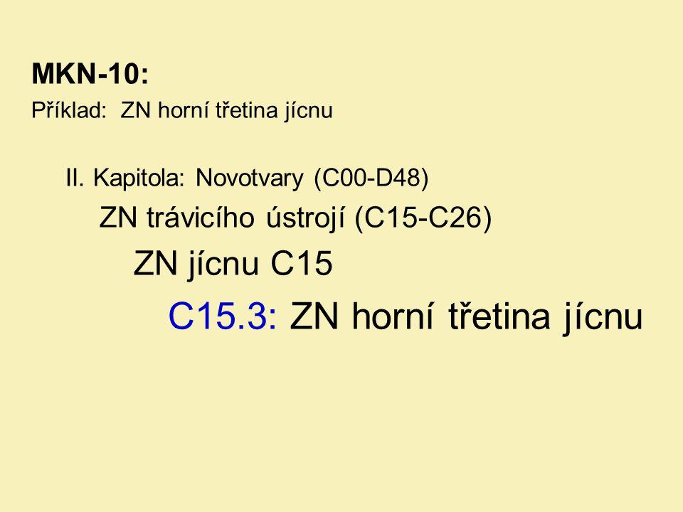 MKN-10: Příklad: ZN horní třetina jícnu II. Kapitola: Novotvary (C00-D48) ZN trávicího ústrojí (C15-C26) ZN jícnu C15 C15.3: ZN horní třetina jícnu