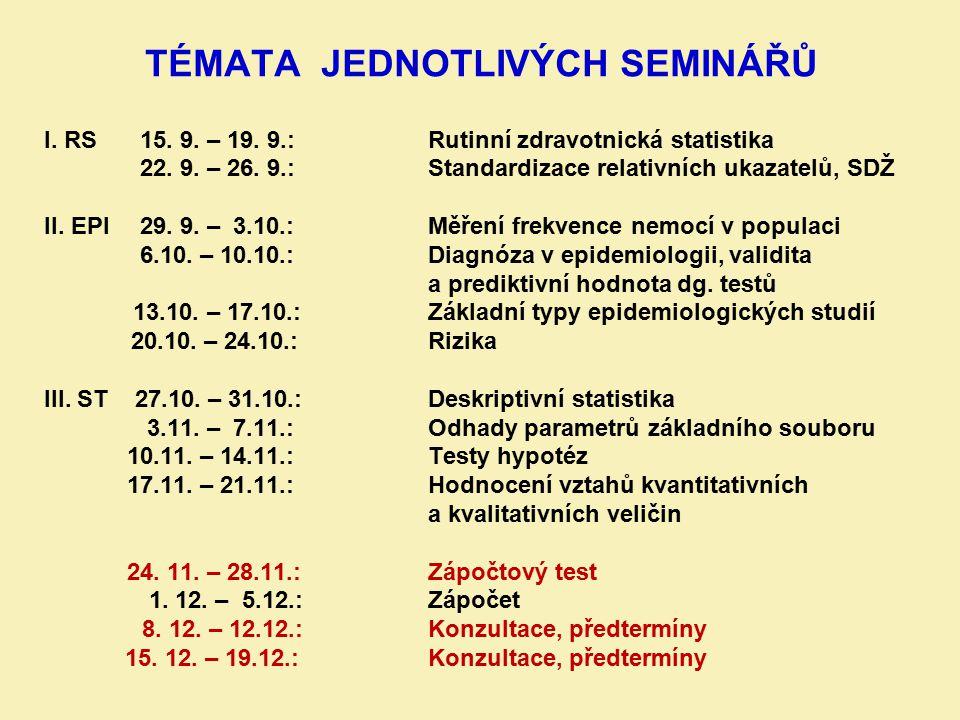 TÉMATA JEDNOTLIVÝCH SEMINÁŘŮ I. RS15. 9. – 19. 9.: Rutinní zdravotnická statistika 22. 9. – 26. 9.: Standardizace relativních ukazatelů, SDŽ II. EPI 2