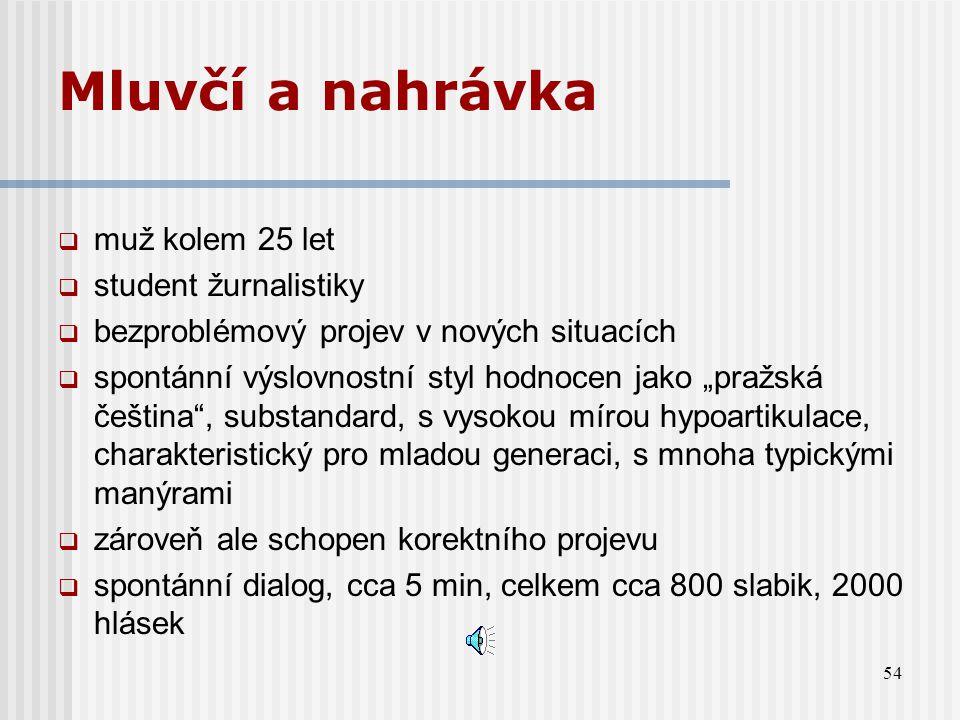 53 Předmět a cíl analýzy  nahrávka jednoho reprezentativního mluvčího pražské češtiny  objektivní a statistické zachycení hláskových odchylek od sta