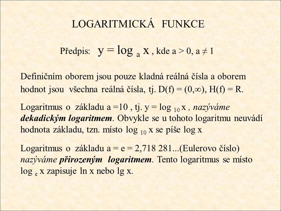 Logaritmus Hodnota log a x (čteme – logaritmus x při základu a) je číslo y, kterým musíme umocnit základ a, abychom dostali číslo x (argument logaritmu), log a x = y x = a y log 2 8 = 3 (2 3 = 8) log 3 9 = 2 (3 2 = 9) log 10 1000 = 3 (10 3 = 1000) log 7 1 = 0 (7 0 = 1) log 2 32 = 5 (2 5 = 32) log 10 0,1 = -1 (10 -1 = 0,1) log 5 0,2 = -1 (5 -1 = = 0,2) log 3 81 = 4 (3 4 = 81) log 9 9 = 1 (9 1 = 9) vždy platí: log a 1 = 0, log a a = 1 log 4 64 = 3 (4 3 = 64)