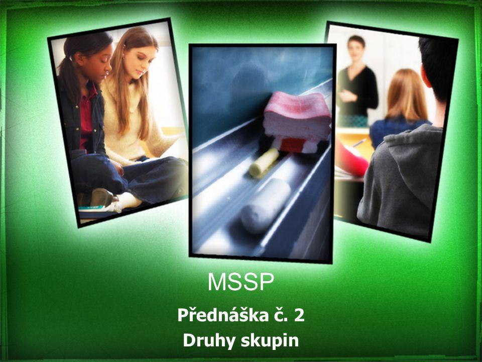 MSSP Přednáška č. 2 Druhy skupin