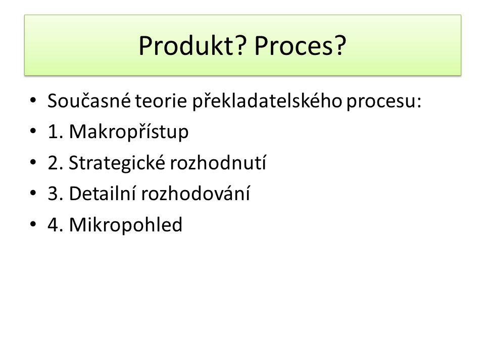 Produkt? Proces? Současné teorie překladatelského procesu: 1. Makropřístup 2. Strategické rozhodnutí 3. Detailní rozhodování 4. Mikropohled