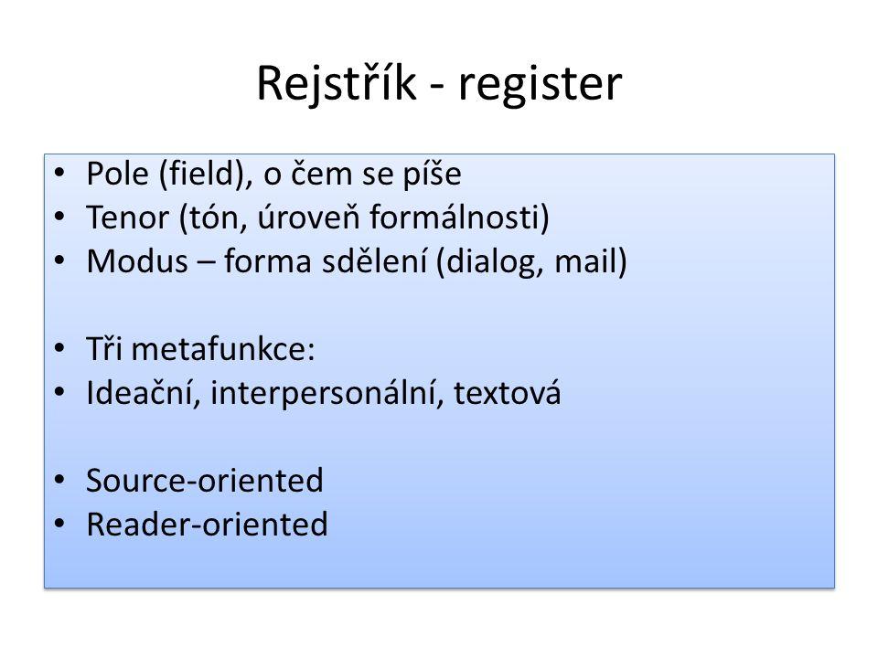 Rejstřík - register Pole (field), o čem se píše Tenor (tón, úroveň formálnosti) Modus – forma sdělení (dialog, mail) Tři metafunkce: Ideační, interper