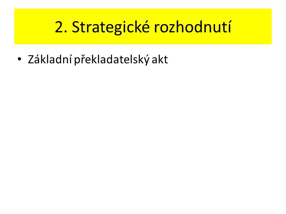 2. Strategické rozhodnutí Základní překladatelský akt