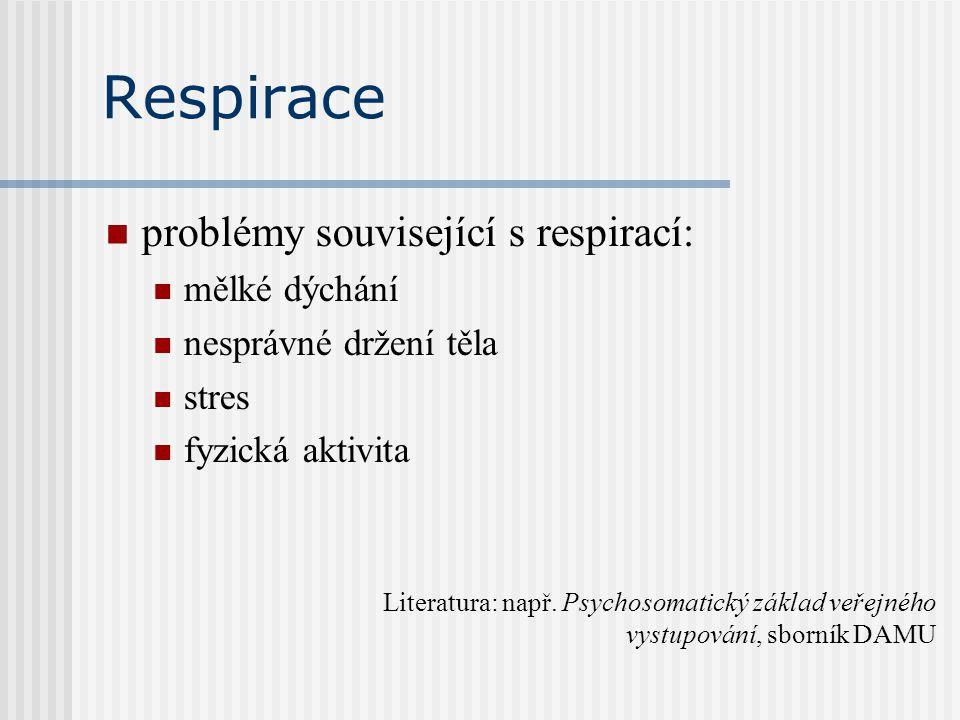 Respirace problémy související s respirací: mělké dýchání nesprávné držení těla stres fyzická aktivita Literatura: např. Psychosomatický základ veřejn