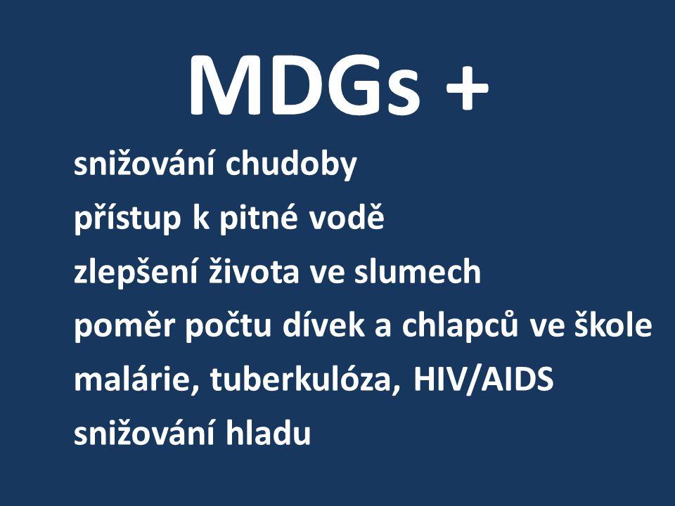 MDGs + snižování chudoby přístup k pitné vodě zlepšení života ve slumech poměr počtu dívek a chlapců ve škole malárie, tuberkulóza, HIV/AIDS snižování hladu