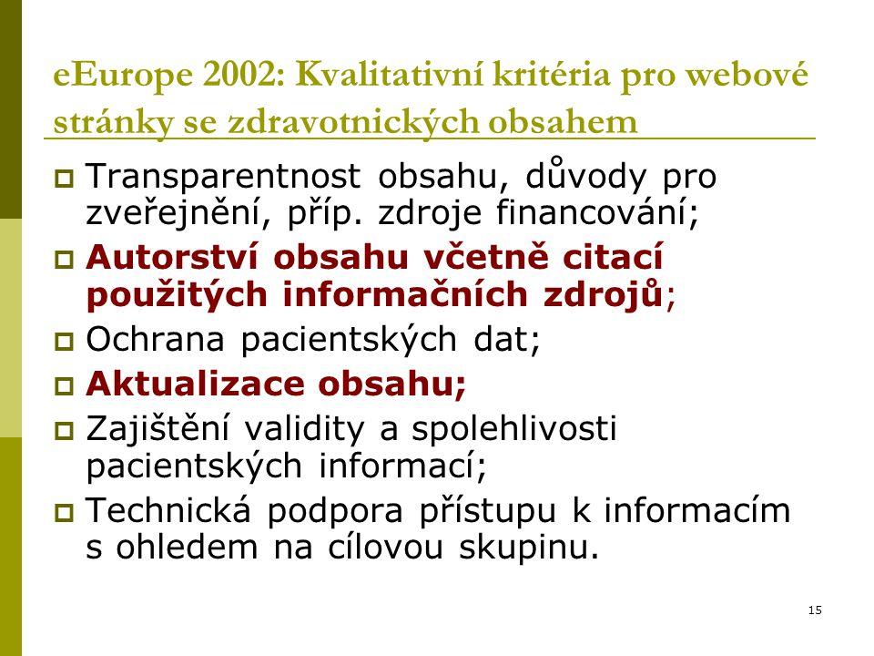 15 eEurope 2002: Kvalitativní kritéria pro webové stránky se zdravotnických obsahem  Transparentnost obsahu, důvody pro zveřejnění, příp.