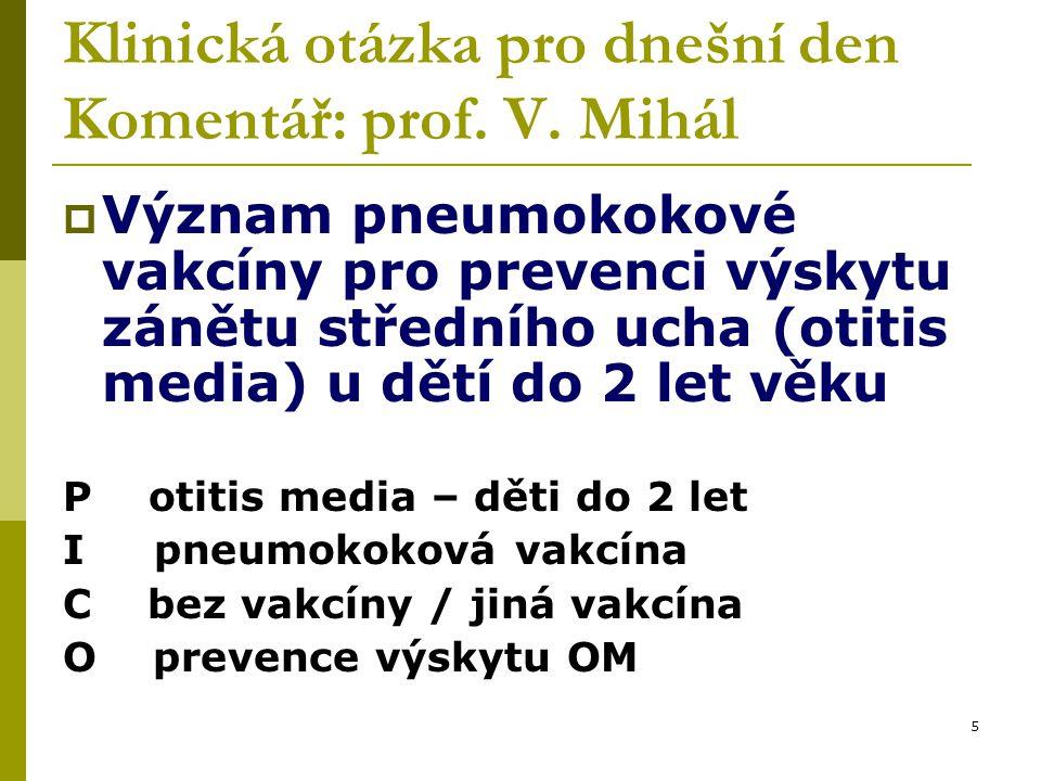 5 Klinická otázka pro dnešní den Komentář: prof. V.