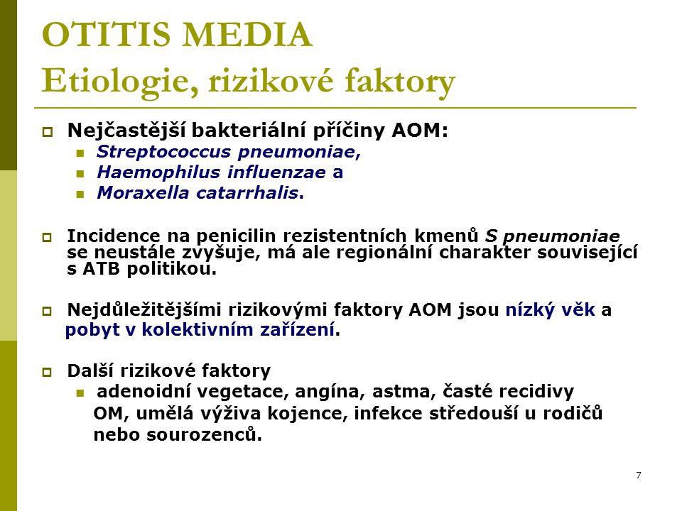 7 OTITIS MEDIA Etiologie, rizikové faktory  Nejčastější bakteriální příčiny AOM: Streptococcus pneumoniae, Haemophilus influenzae a Moraxella catarrhalis.