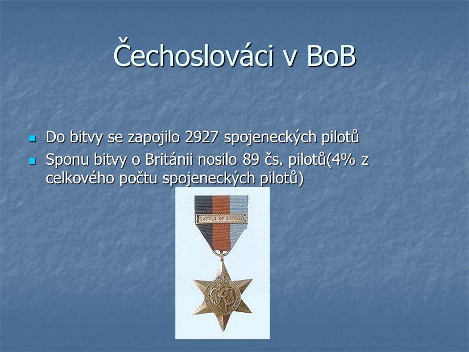 Čechoslováci v BoB Do bitvy se zapojilo 2927 spojeneckých pilotů Do bitvy se zapojilo 2927 spojeneckých pilotů Sponu bitvy o Británii nosilo 89 čs. pi