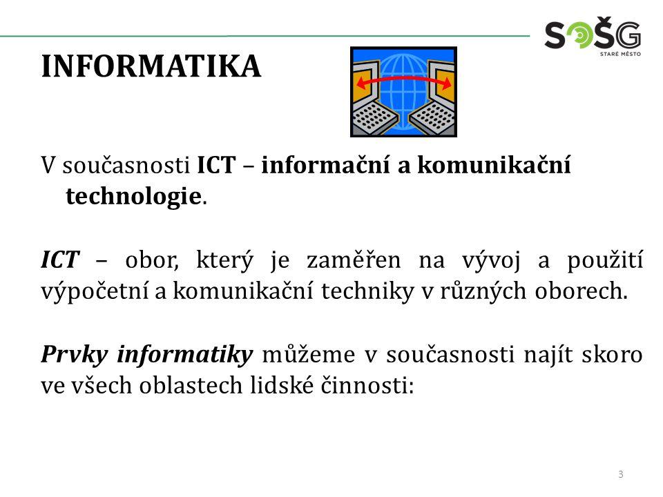 INFORMATIKA V současnosti ICT – informační a komunikační technologie.