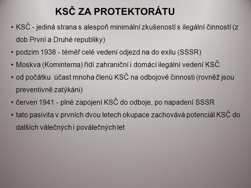 KSČ ZA PROTEKTORÁTU KSČ - jediná strana s alespoň minimální zkušeností s ilegální činností (z dob První a Druhé republiky) podzim 1938 - téměř celé ve