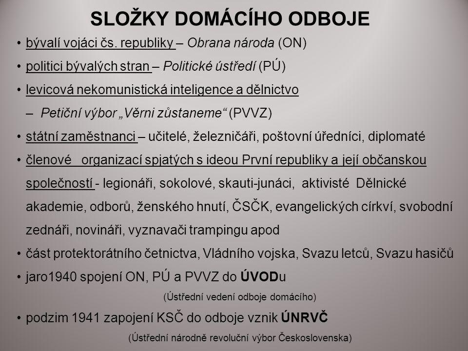 Mezi hlavní úkoly exilové vlády patří: koordinace své aktivity s domácím odbojem, případně i protektorátní vládou docílení uznání u Spojenců jako legitimní exilové vlády prosazení idey právní kontinuity s První republikou anulace Mnichovské dohody a uznání obnoveného Československa v předmnichovských hranicích začlenění obnoveného Československa do systému kolektivní bezpečnosti (OSN) řízení rozsáhlých a roztroušených čs.