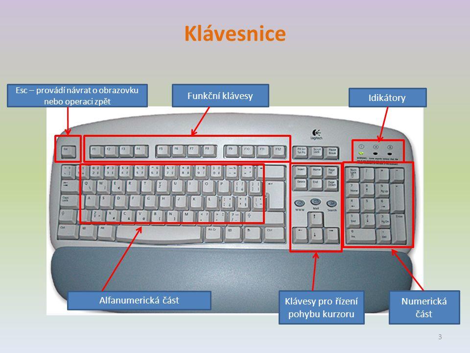 Klávesnice Esc – provádí návrat o obrazovku nebo operaci zpět Funkční klávesy Idikátory Numerická část Klávesy pro řízení pohybu kurzoru Alfanumerická část 3