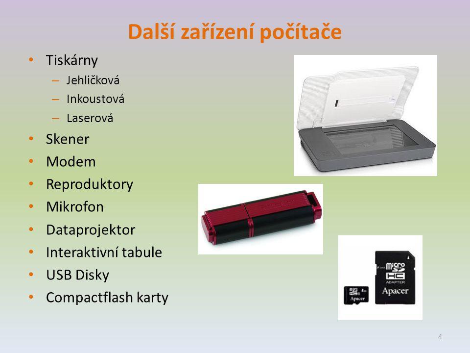 Další zařízení počítače Tiskárny – Jehličková – Inkoustová – Laserová Skener Modem Reproduktory Mikrofon Dataprojektor Interaktivní tabule USB Disky Compactflash karty 4