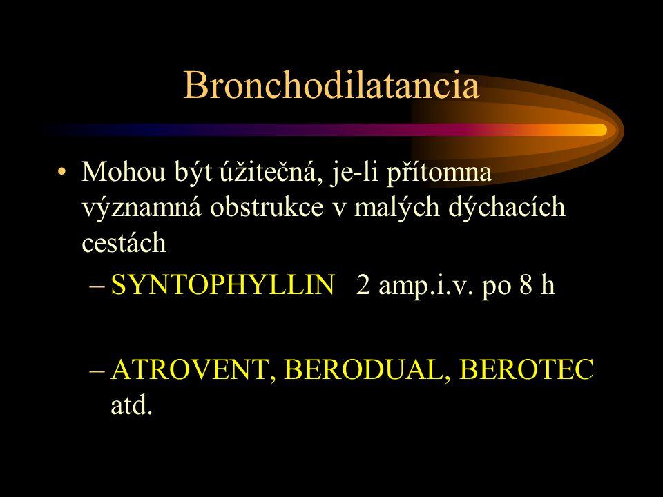 Bronchodilatancia Mohou být úžitečná, je-li přítomna významná obstrukce v malých dýchacích cestách –SYNTOPHYLLIN 2 amp.i.v.