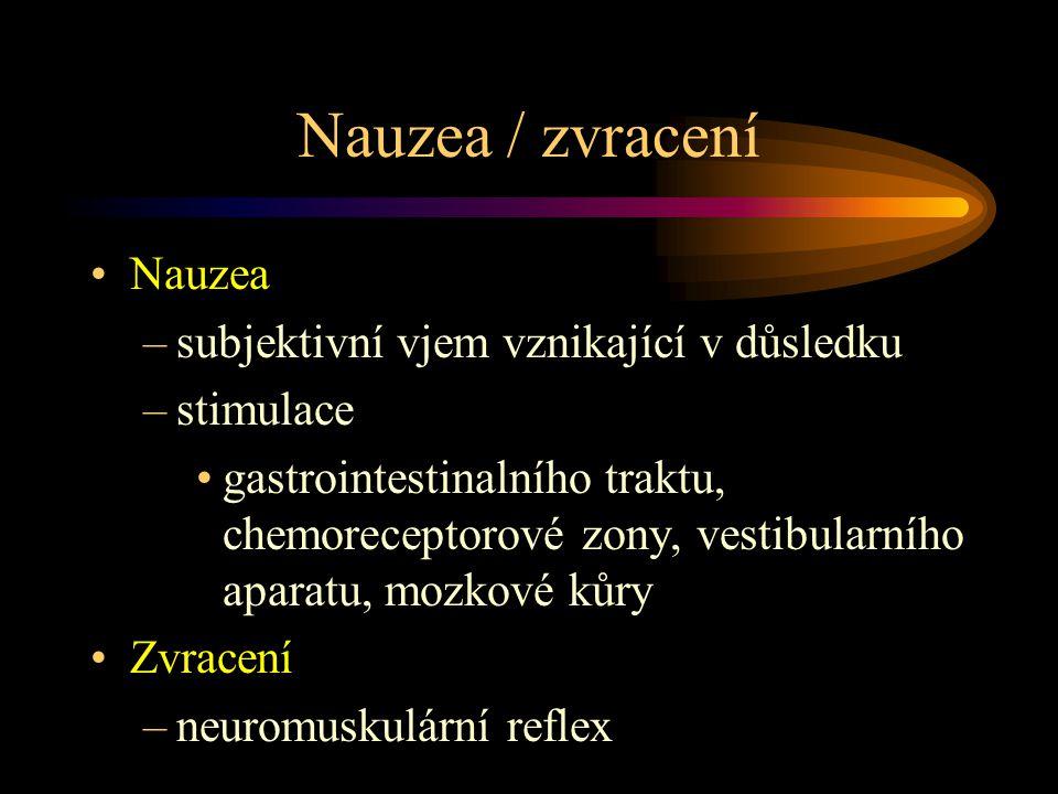 Nauzea / zvracení Nauzea –subjektivní vjem vznikající v důsledku –stimulace gastrointestinalního traktu, chemoreceptorové zony, vestibularního aparatu, mozkové kůry Zvracení –neuromuskulární reflex