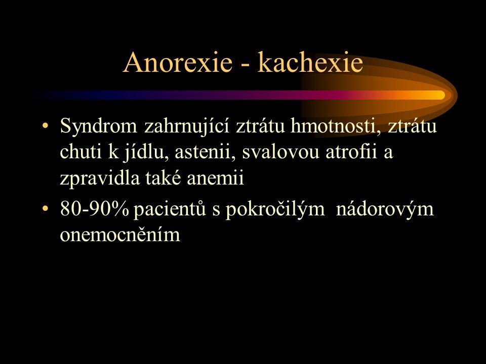 Anorexie - kachexie Syndrom zahrnující ztrátu hmotnosti, ztrátu chuti k jídlu, astenii, svalovou atrofii a zpravidla také anemii 80-90% pacientů s pokročilým nádorovým onemocněním