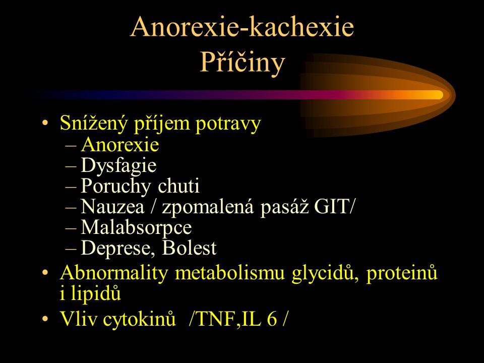 Anorexie-kachexie Příčiny Snížený příjem potravy –Anorexie –Dysfagie –Poruchy chuti –Nauzea / zpomalená pasáž GIT/ –Malabsorpce –Deprese, Bolest Abnormality metabolismu glycidů, proteinů i lipidů Vliv cytokinů /TNF,IL 6 /