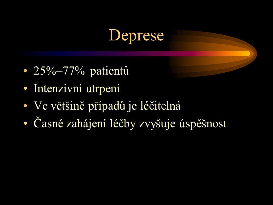 Deprese 25%–77% patientů Intenzivní utrpení Ve většině případů je léčitelná Časné zahájení léčby zvyšuje úspěšnost