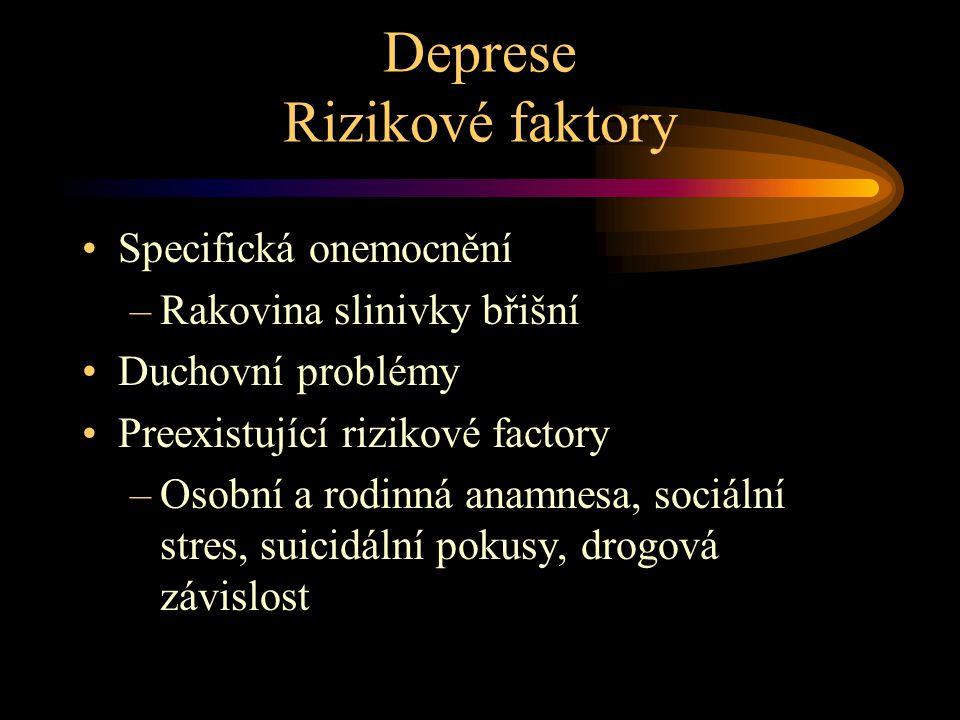 Deprese Rizikové faktory Specifická onemocnění –Rakovina slinivky břišní Duchovní problémy Preexistující rizikové factory –Osobní a rodinná anamnesa, sociální stres, suicidální pokusy, drogová závislost