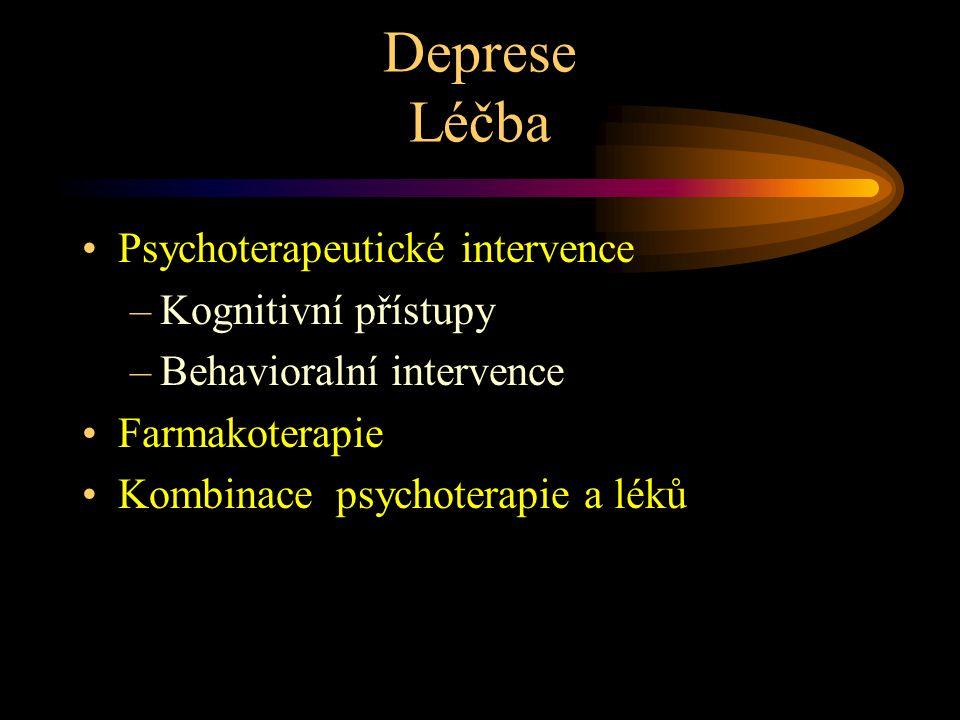 Deprese Léčba Psychoterapeutické intervence –Kognitivní přístupy –Behavioralní intervence Farmakoterapie Kombinace psychoterapie a léků