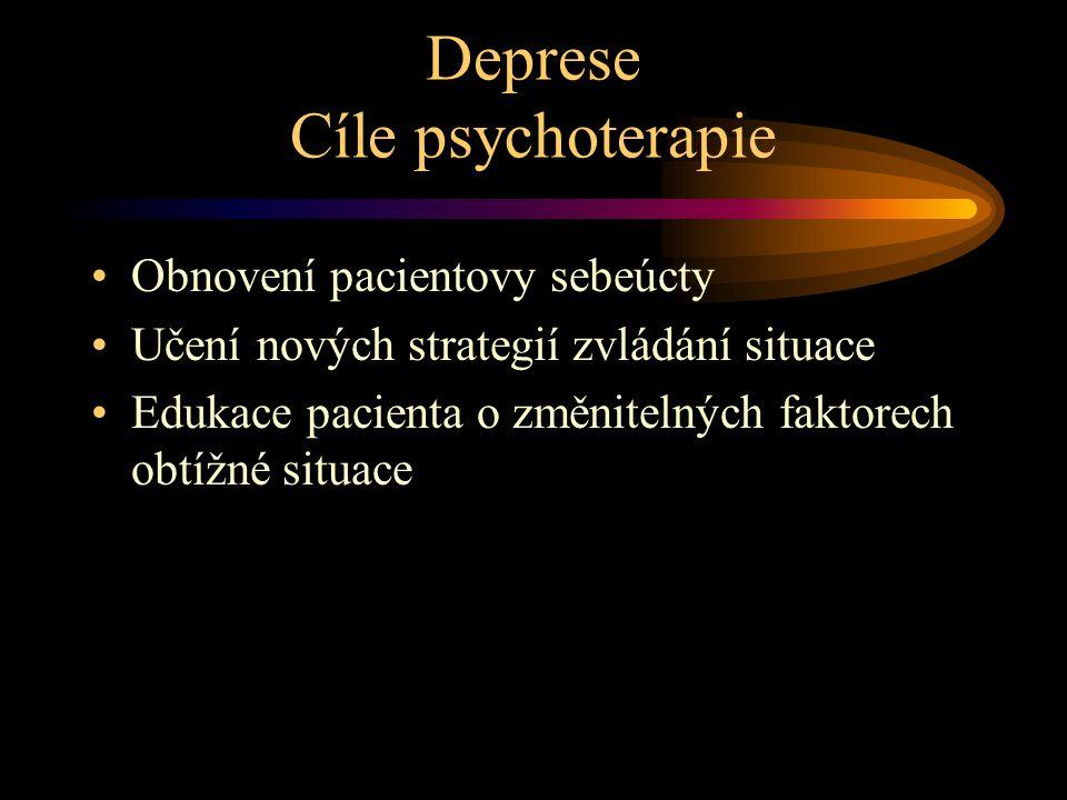 Deprese Cíle psychoterapie Obnovení pacientovy sebeúcty Učení nových strategií zvládání situace Edukace pacienta o změnitelných faktorech obtížné situace