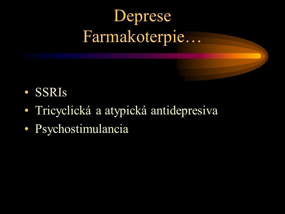 Deprese Farmakoterpie… SSRIs Tricyclická a atypická antidepresiva Psychostimulancia