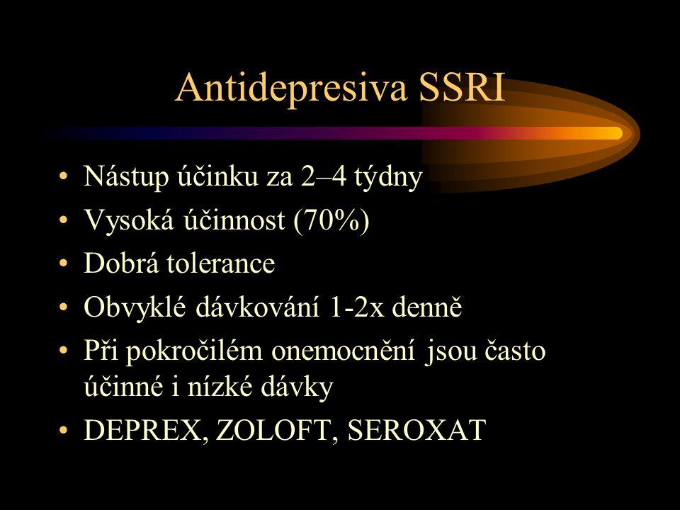 Antidepresiva SSRI Nástup účinku za 2–4 týdny Vysoká účinnost (70%) Dobrá tolerance Obvyklé dávkování 1-2x denně Při pokročilém onemocnění jsou často účinné i nízké dávky DEPREX, ZOLOFT, SEROXAT