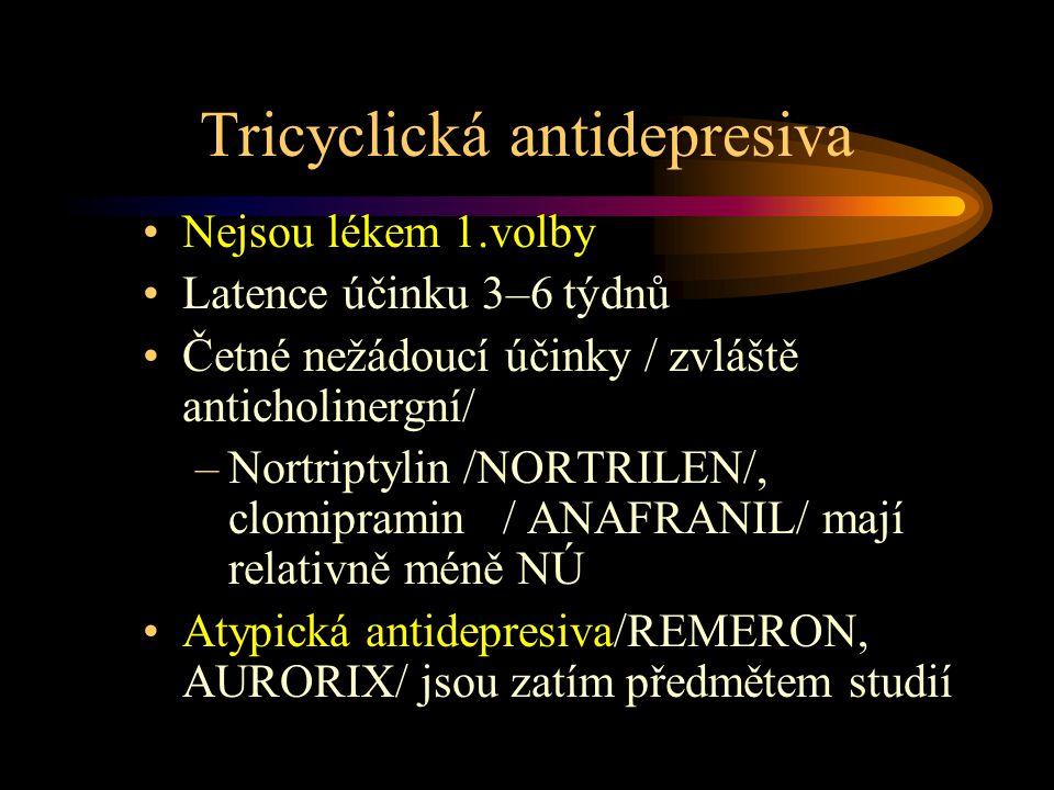 Tricyclická antidepresiva Nejsou lékem 1.volby Latence účinku 3–6 týdnů Četné nežádoucí účinky / zvláště anticholinergní/ –Nortriptylin /NORTRILEN/, clomipramin / ANAFRANIL/ mají relativně méně NÚ Atypická antidepresiva/REMERON, AURORIX/ jsou zatím předmětem studií