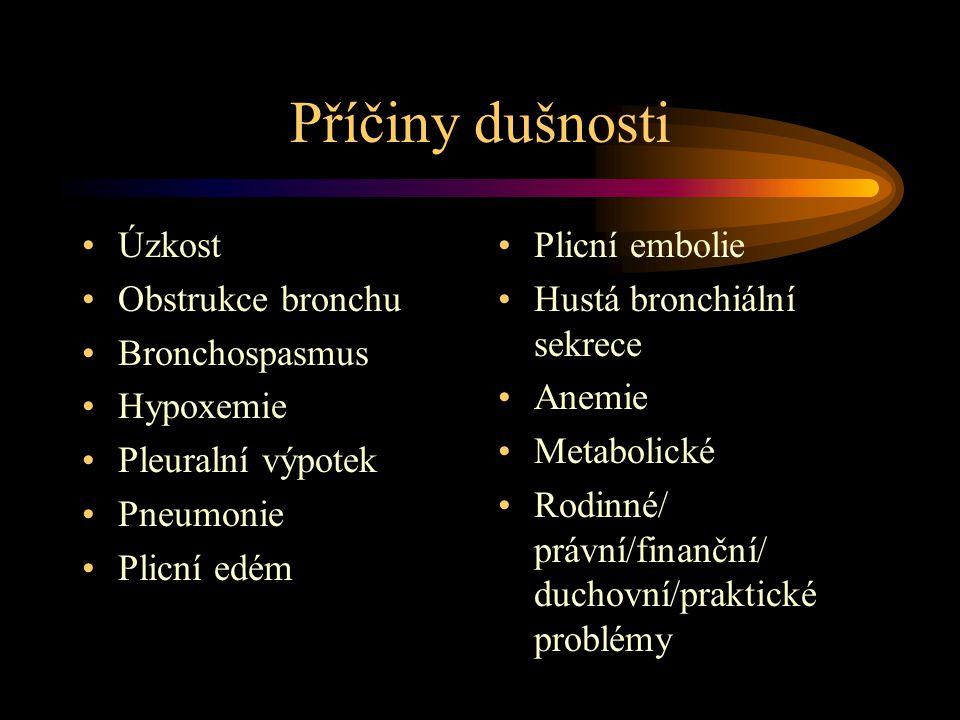 Příčiny dušnosti Úzkost Obstrukce bronchu Bronchospasmus Hypoxemie Pleuralní výpotek Pneumonie Plicní edém Plicní embolie Hustá bronchiální sekrece Anemie Metabolické Rodinné/ právní/finanční/ duchovní/praktické problémy