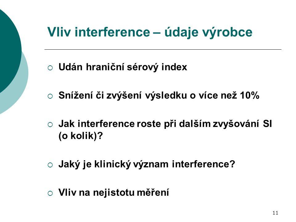 11 Vliv interference – údaje výrobce  Udán hraniční sérový index  Snížení či zvýšení výsledku o více než 10%  Jak interference roste při dalším zvy