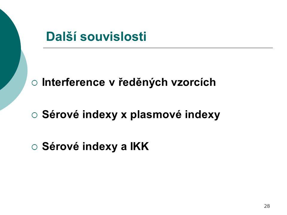 28 Další souvislosti  Interference v ředěných vzorcích  Sérové indexy x plasmové indexy  Sérové indexy a IKK